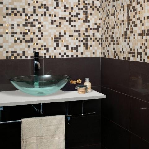 Concept Marron 30X60 pulido + Mosaico Concept Calido